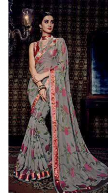 Grey colourful Floral Saree
